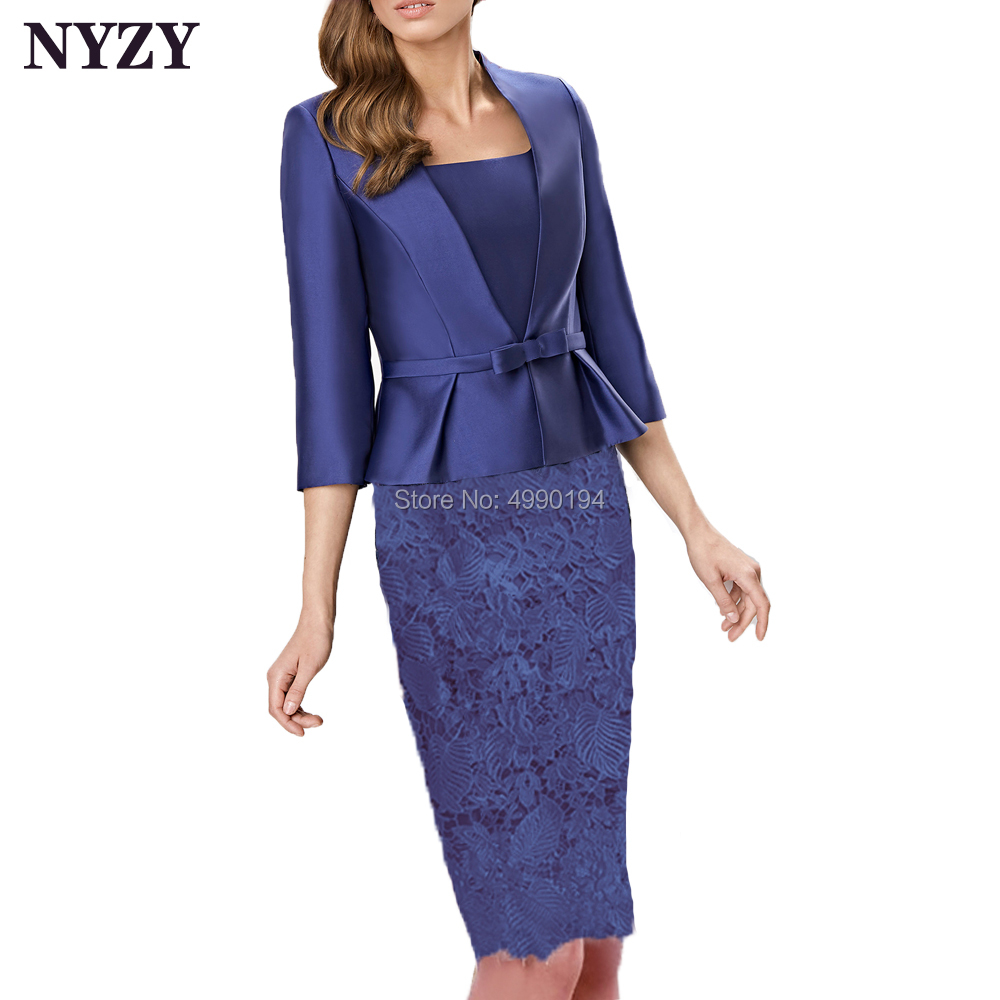 With Jacket Blue Satin 2 Piece Mother Of The Bride Dresses Outfits 2020 NYZY M257 Vestidos De Fiesta De Noche Church Suits