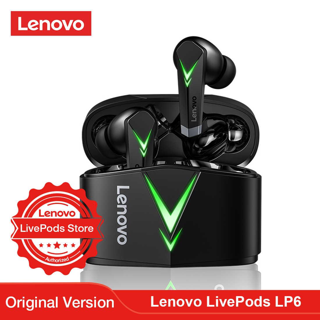 Lenovo LivePods LP6 TWS oyun Bluetooth kulaklık düşük gecikme kablosuz  kulaklık Mic ile 3D Stereo bas gerçek kablosuz kulaklıklar Bluetooth  Earphones & Headphones