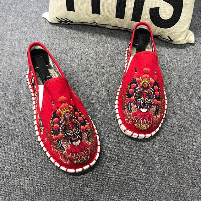 Licht Harte Tragende Gummi Leinwand Frühling Mode Sticken Schuhe Männer Wohnungen Schuhe Mann Leinwand Harajuku Mann Espadrilles Faulenzer