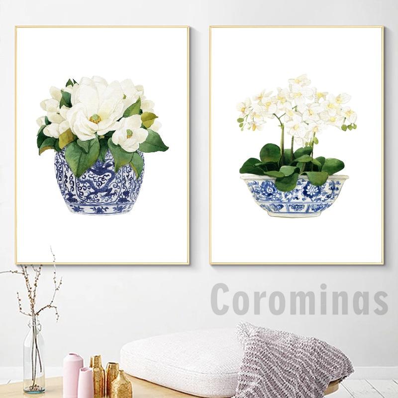 Плакат с белой орхидеей и магнолией, декоративное полотно в китайском стиле, Восточная ваза с рисунком синей и белой ивы, фарфоровый цветок