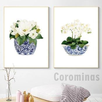 White Orchid & Magnolia Watercolor Chinoiserie Decor Canvas Print Oriental Vase Blue White Willow Style Porcelain Flower Jar ceramics blue and white porcelain ceramic vase fashion chinese style rustic porcelain flower