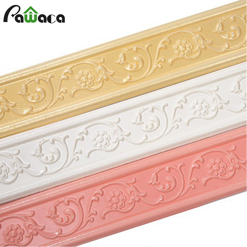 3D Stereo Baseboard Wall Sticker Waterproof Wallpaper Self Adhesive Wall Trim Line Skirting Border Stick Tiles Home Decoration