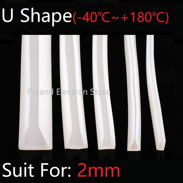 U Shape Seal Strip 2mm Channel Silicone Rubber Wrap Slid Window Car Door Shower Frameless Glass Edge Weatherstrip Soft Protect
