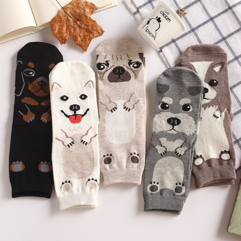Dropshipping Unisex Adult Crew Socks Pet Short Puppy Doberman Doge Corgi Dachshund Sausage Dog Pug Family Collie Husky Schnauzer