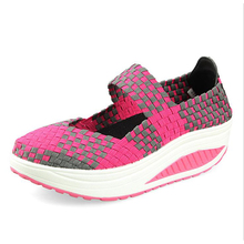 Shoes Women Summer New Ventilating Increase Hand-Woven Body-Building Shake Leisure Fashion