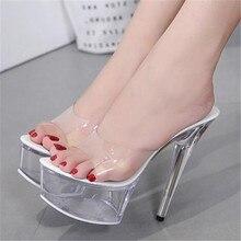 Summer Model Catwalk Slippers Women Shoes Explosive Sexy High heel Shoe 15CM Slides Crystal Shoes Female Wedding Shoes Big Size