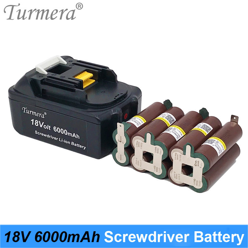 Turmera 18V 6000mAh Screwdriver Battery TUR18650HG2 3000mAh 30A Reachargeable Lithium Battery Cell with 5S BMS for Drill Motor image