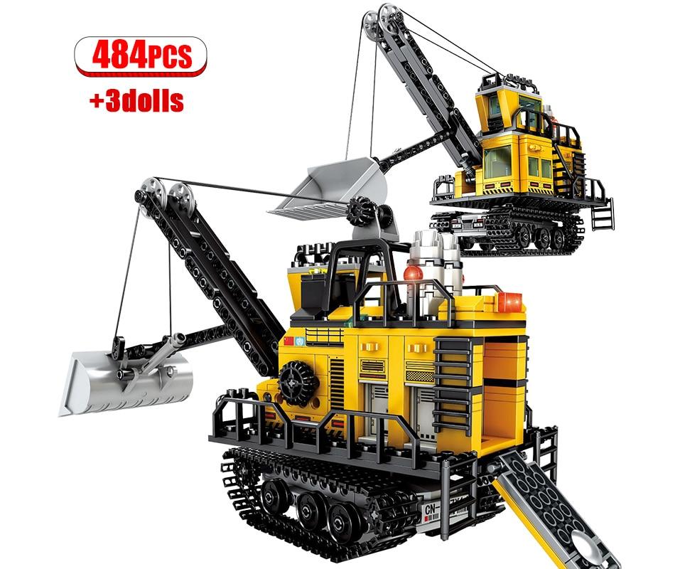 484PCS City Engineering Mining Machinery Forklift Building Blocks Legoing Technic Excavator Truck Car Bricks Toys for Children 1