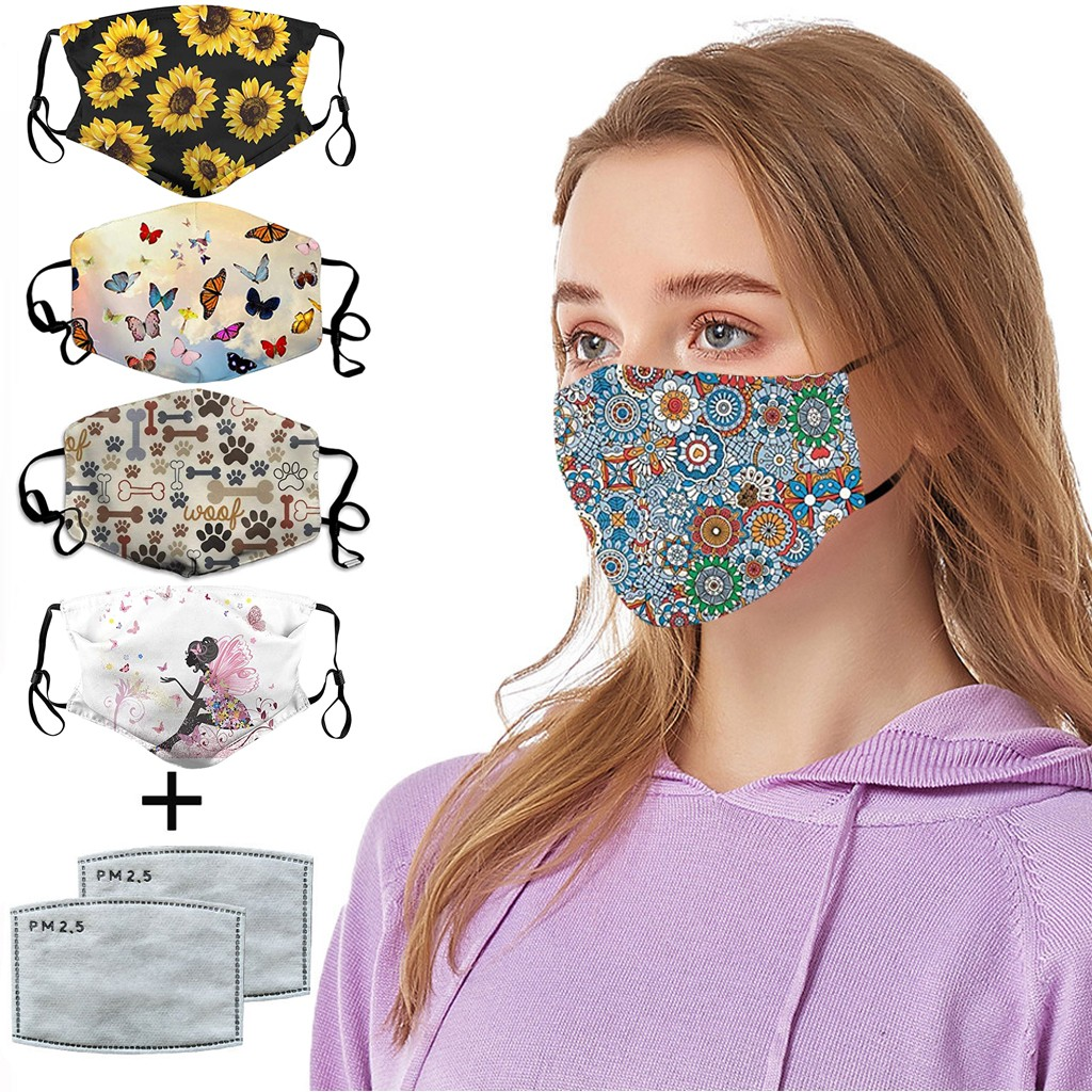 Flower Printed Face Mask Adult Protective PM2.5 Activated Carbon Filter Dust Mouth Cover Washable Reusable Mouth Face Mask Cover
