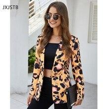 Leopard Women Casual Jacket Autumn Long Sleeve Turn-Down Collar Suit Coat Single
