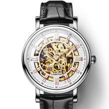 Japan Miyota Movement Watch Men LOBINNI Automatic Mechanical Watches Fashion White Skeleton Clock relogio masculin 9010M-3