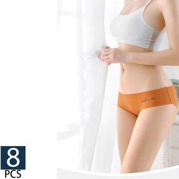 1/8Pcs/lot Seamless Panty Set Underwear Female Comfort Intimates Fashion Middle waist Briefs Solid 8 Colors Lingerie