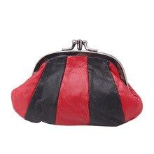 Zoukane monedero de piel de oveja para mujer, monedero pequeño, diseño de varias telas con cuero, monedero Retro con hebilla de Metal, bolso de mano ZSCP01