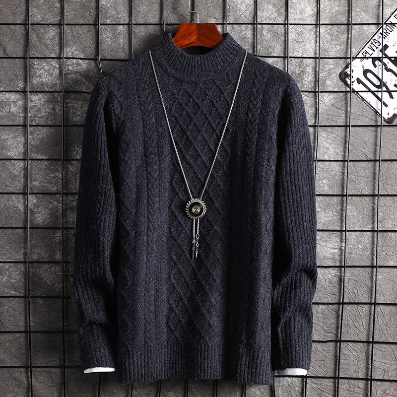 New Sweater Long Sleeve Men Fashion Black Wine Red Casual Winter O-Neck Pullovers Mens Sweaters