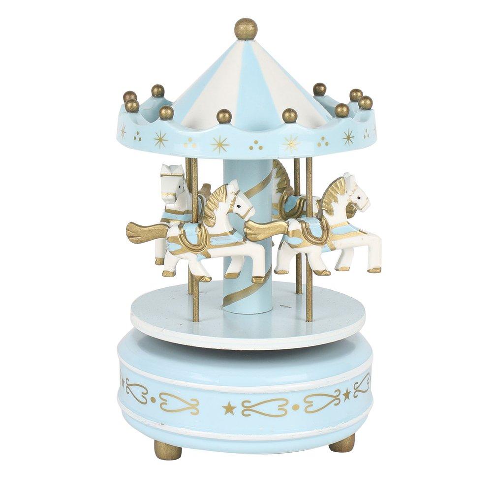 Creative Interesting Wooden Merry-Go-Round Carousel Music Box Exquisite Handcraft Music Box Children Kids Birthday Gift