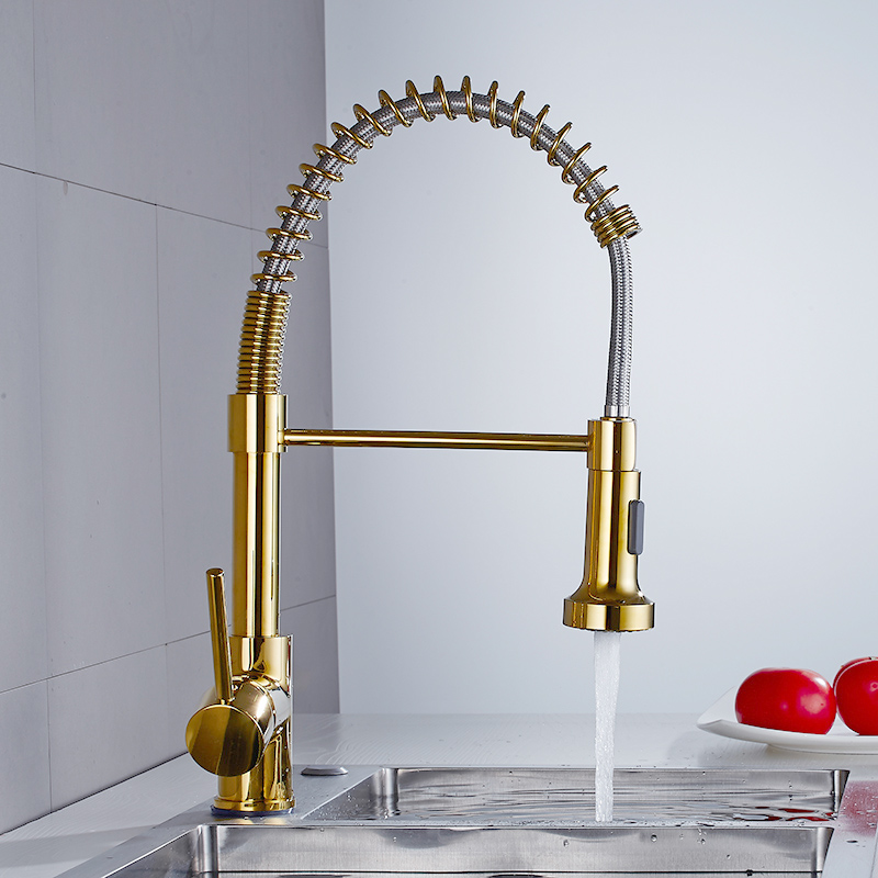Tuqiu Spring Pull Out Kitchen Faucet  Gold Pull Down Kitchen Sink Faucet Luxury Hot & Cold Total Brass Kitchen Mixer Tap