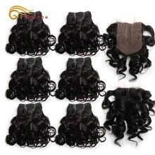 Curly Human Hair Bundles With Closure T Part 4x1 Lace Closure Short Brazilian Hair Curly Bundles With Closure Natural Color