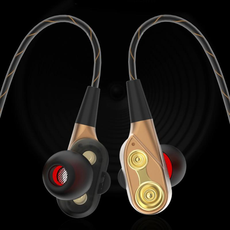 Dual-ring quad-core speaker subwoofer dual-ring quad-core headset wired mobile phone universal sports earphone