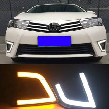 12V Daytime Running Light For Toyota Corolla 2014 2015 2016 Turn Signal ABS DRL Fog Lamp Decoration Car Accessories фото