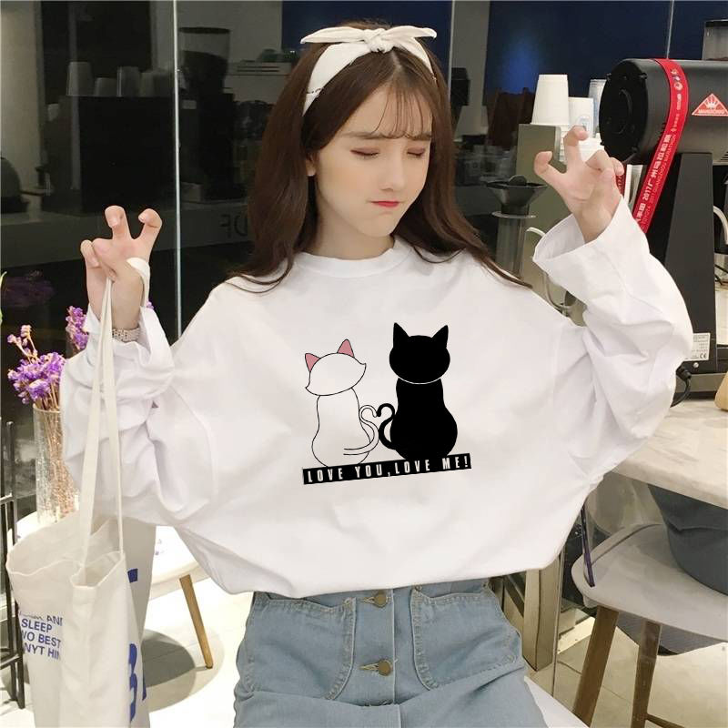 Spring And Autumn Jacket Korean Style Super Hot Student Loose T-shirt Female Long Sleeve White Yuansu Ins Net Red Tide T-shirt
