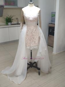 Image 3 - Julia Kui Elegant Lace Of 2 In 1 Mermaid Wedding Dresses Beach With Detachable Skirt Long Sleeve Bride Dress