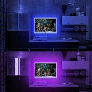 TV Background LED Strip Light SMD5050 Living Room Motion Tape Diode Ribbon Flexible Controller RGB 30pcs Leds 1M DC 12V 3000K