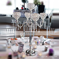 2PCS/lots bead flower shape crystal metal candlestick centerpiece for Wedding decoration event party decoration