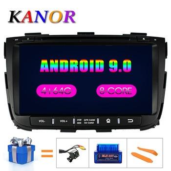 KANOR Octa Core IPS Android 9.0 RAM 4g 32g ROM 2 din Car Radio For KIA Sorento 2013 GPS Radio WIFI Bluetooth Map USB Audio