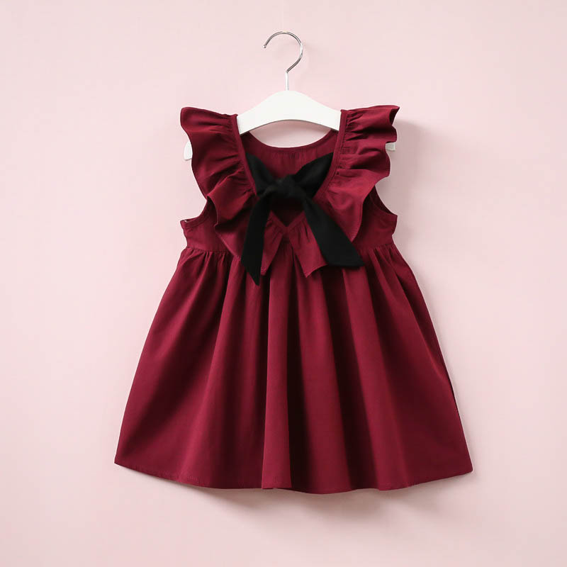Платье для девочек детское платье в полоску с бантом и кружевным вырезом для маленьких девочек костюм принцессы, одежда праздничное платье-...