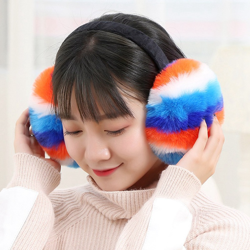 Lovely Rainbow Earmuffs Female New Imitating Rabbit Hair Warm Accessories Autumn Winter High Quality Plush Fashionable Earmuffs