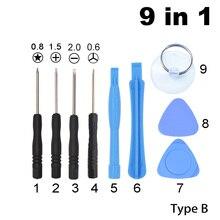 Com 0.6 y 0.8 pentalobe 1.5 phillips mini chave de fenda conjunto padrão 9 em 1 kit de ferramentas de abertura para o iphone 7 8 x ferramenta de reparo 700 conjunto