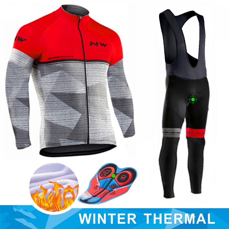 <font><b>Northwave</b></font> Warm <font><b>2019</b></font> Winter thermal fleece Cycling Clothing <font><b>NW</b></font> Men's Jersey suit outdoor riding bike MTB clothing Bib Pants set image