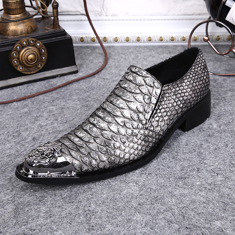 New Men's Designer Snake Pattern Men Formal Shoes Genuine Leather Wedding Dress Shoes Office Classic Business Oxford Shoe