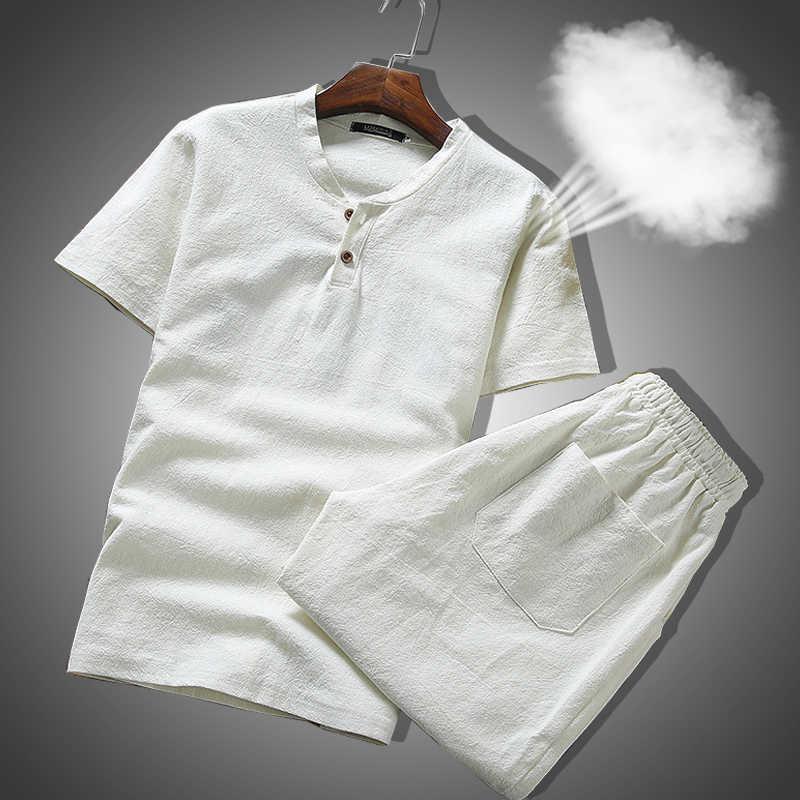 Conjunto de roupas de verão para homens, roupas respiráveis de linho e tecido respirável, conjunto de duas peças para homens, plus size 5xl 2020 ternos de suor