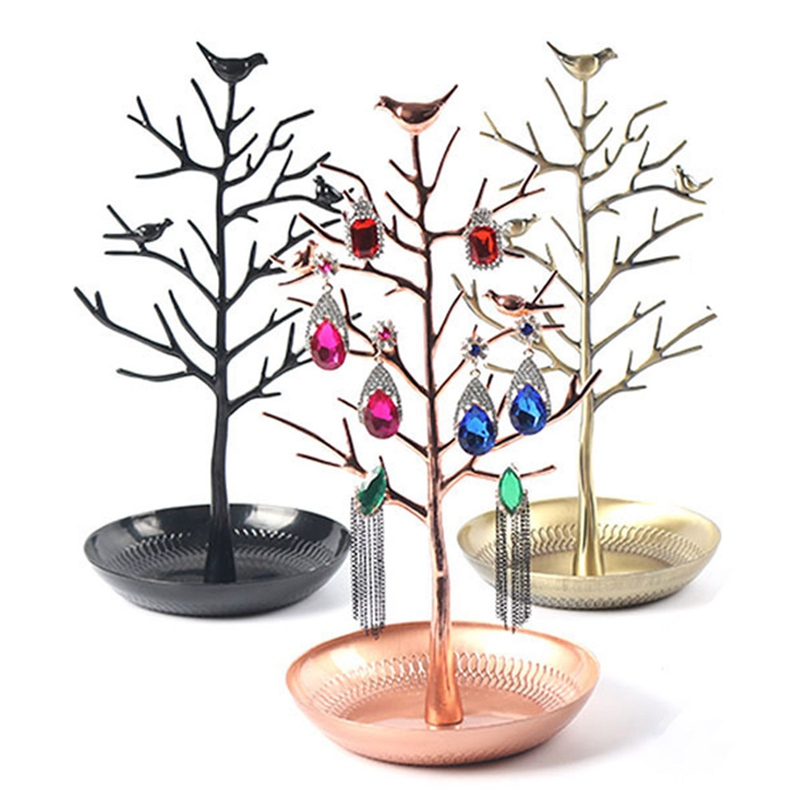 Jewelry Display Stand Organizer Earrings Necklace Bracelet Show Rack Holder Metal Tree Shaped Jewelry Display Storage Tray