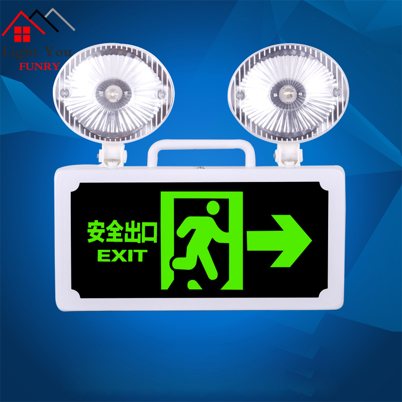 Fire Emergency Indicator LED Safety Exit Indicator Card Two-in-one Evacuation Two-way Emergency Lighting