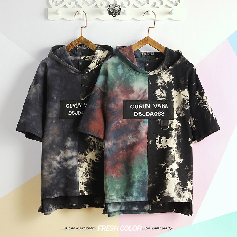 Loose Fit hooded t-shirt men New Men's T-shirt Print Cotton Summer Short Sleeve O-Neck Tees Male Fashion Shirt