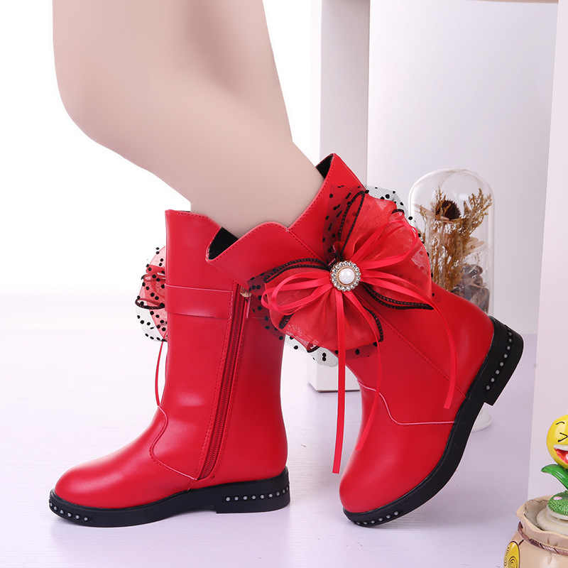 Princess Fashion bead Bow Fringe Winter Boots Kids Long Boots For Big Girls Snow Boots Children Shoes 4 5 6 7 8 9 10 11 12 Years
