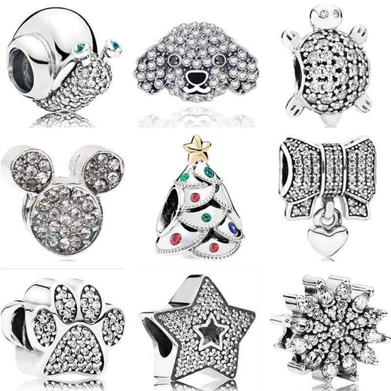 Fit Pandora Charms Armreifen Kristall Einhorn Blatt Apple Mickey Perlen Frauen 2019 DIY Armbänder für Frauen Mädchen Original Pulsera