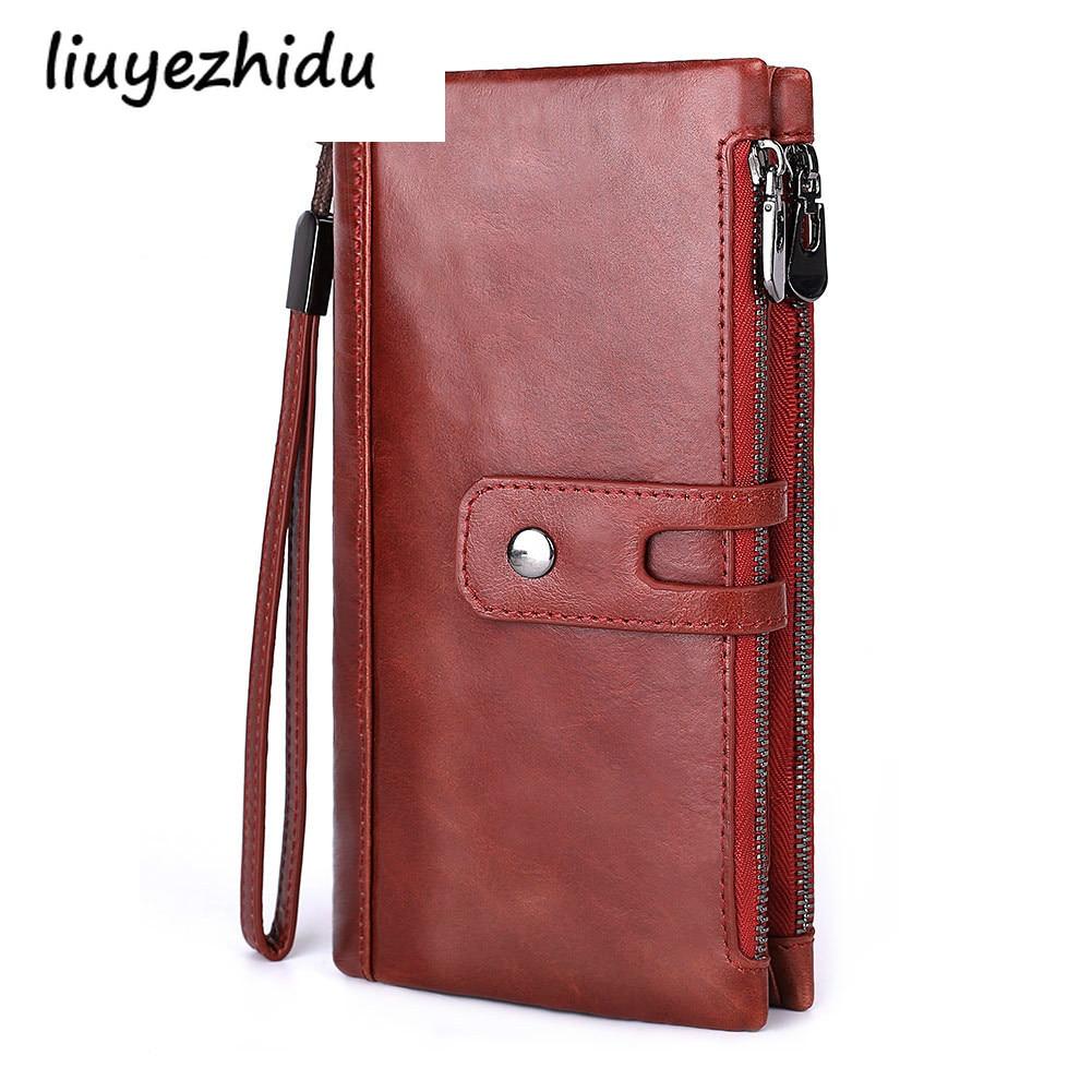 Women's wrist wallet long zipper doka bit real leather large-capacity hand bag fashion wallet zero wallet luxury design