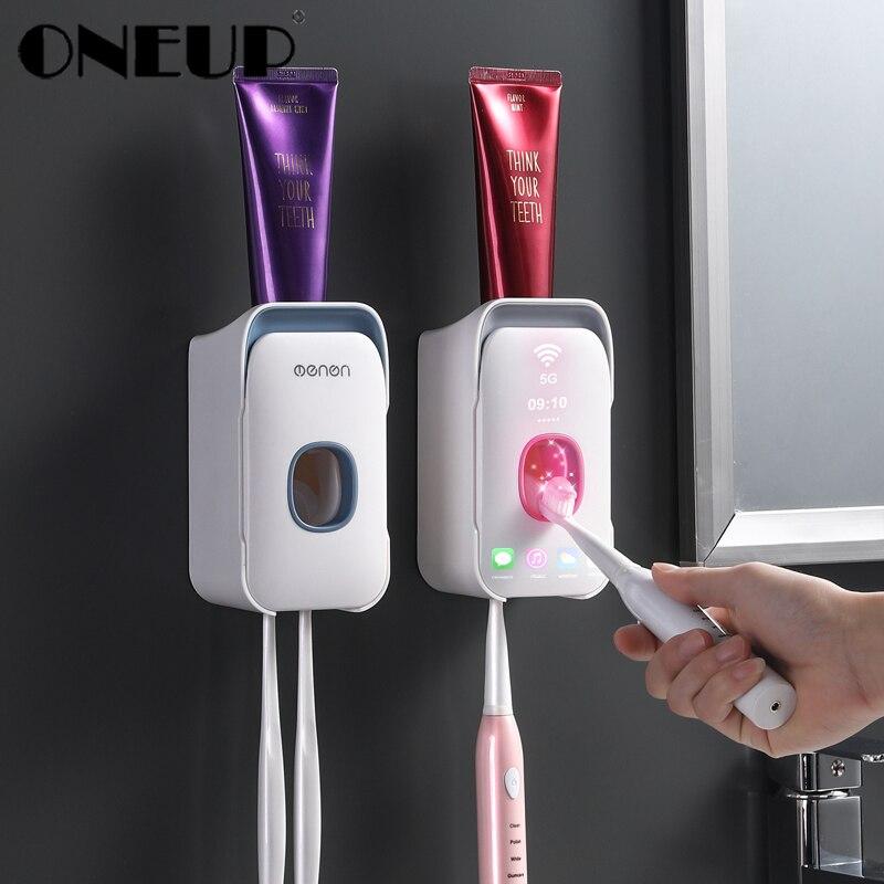 ONEUP пластиковый настенный держатель для зубной щетки Автоматический Диспенсер зубной пасты, для зубной щетки для Хранения Туалетных принад...