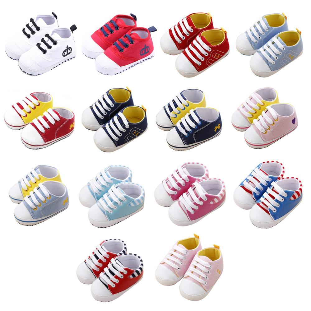 Baby Shoes Infant Toddler Baby Boy Girl Casual Soft Sole Crib Canvas Sneaker First Walkers 0-18M All Seasons