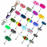 Piercing para Lengua vibrador de acero inoxidable, 1 unidad, anillo de silicona, Piercing para Lengua, joyas de haltera, Piercing para el cuerpo, regalo