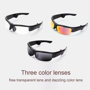 Image 3 - أحدث 6B سماعة رأس بخاصية البلوتوث النظارات الشمسية الموسيقى ميكروفون العظام التوصيل نظارات سماعة مع 3 عدسات ملونة مختلفة هدية