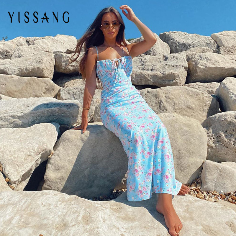 Yissang Floral Print Puff Short Sleeve Women Dress High Split Party Long Dresses Elegant Lace Up Sweet Summer Club Sexy Dress 8