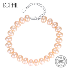 DOTEFFIL Genuine Natural Freshwater Pearl Bracelets Fine Jewelry Bangles For Women 6-7MM Pearl Oval 925 Silver Pearl-Clasps Gift doteffil genuine natural freshwater pearl bracelets fine jewelry bangles for women 6 7mm pearl oval 925 silver pearl clasps gift