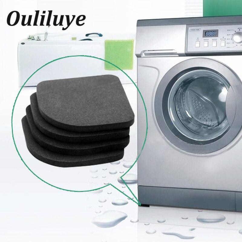 4 шт./компл., Черные Резиновые Нескользящие Коврики для ног, Нескользящие Коврики для холодильника, стол, коврики для ног, стиральная машина, ...