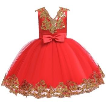 Kids Infant Girl Flower Petals Dress Children Bridesmaid Toddler Elegant Dress Vestido Infantil Formal Party Dress
