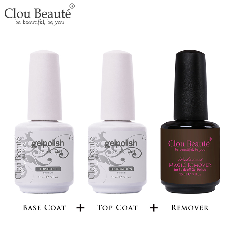 Clou Beaute 15ml Top Coat Bese Coat Nail Polish Gel Varnishes Manicure Nail Art Soak Off Lacquer Long Lasting Gel Primer(China)