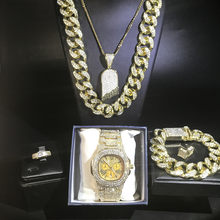 Luxury men gold watch hip hop men necklace & watch & pendent & braclete & ring & earrings jewerly set ice out cuban men jewerly(China)
